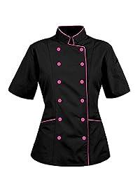 Uniformale Short Sleeves Ladies Women Chef Coat Jacket
