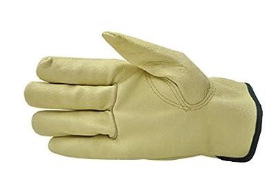 GF Gloves 2002M-12 Grain Pigskin Leather Work Gloves, Premium Washable Leather, Medium, Yellow (Pack of 12)