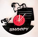Snoopy Peanuts Wall Clock Made from 12 inches / 30 cm Vintage Vinyl Record | The Peanuts Movie | Snoopy Gift for Women Boys Girls| Charlie Brown's Snoopy Clock | Snoopy Merchandise