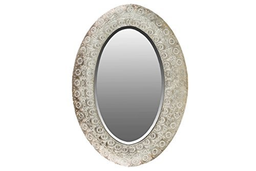 Urban Trends 94176-UT Elliptical Wall Mirror with Pierced Metal Frame Electroplated Finish (Pierced Mirror)