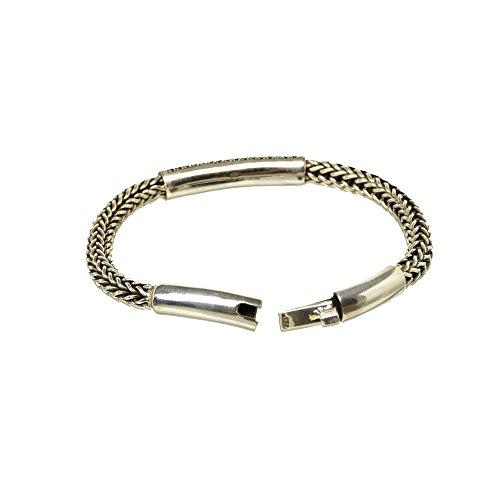 Bouddha to Light Biker-Bracelet Femme Argent Sterling Handmade Wire Tube Stone eie 319eur