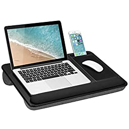 LapGear Home Office Pro Lap Desk with Wrist Rest, Mouse Pad, and Phone Holder – Black Carbon – Fits Up To 15.6 Inch…
