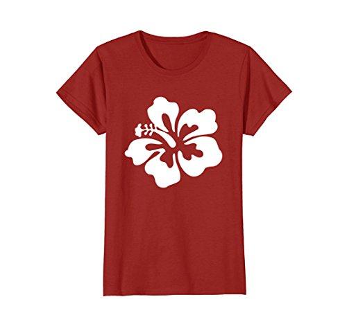Womens Classic Hawaii T Shirt  Hibiscus Hawaiian Flowers Large Cranberry