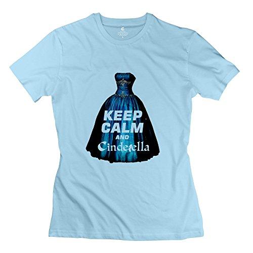 LFL-Women's Keep Clam And Cinderella Screw Neck Tee Size XXL SkyBlue