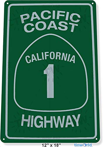 Tin Sign 8x12 inches Pacific Coast Highway 1 Street Metal Decor Art Road Beach Store