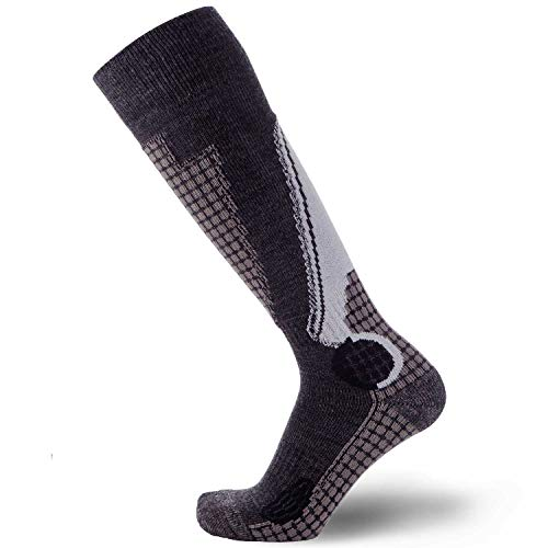 Silver Ski Womens Boots - PureAthlete Wool Skiing Snowboard Socks, Small, Black/Grey/Silver
