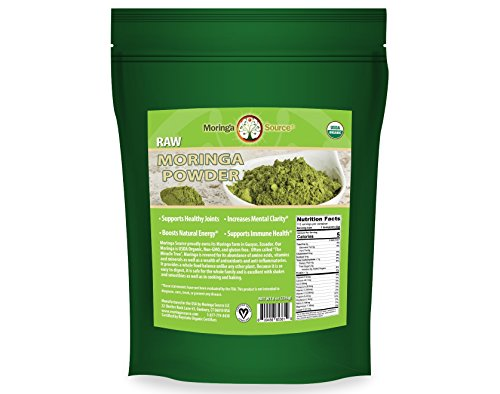 USDA Organic Moringa Powder Superfood – 1lb (16 oz) 100% Raw Potent Moringa Oleifera Leaf Powder, Non-GMO with Vitamins, Minerals, Amino Acids, Plant Protein, Anti-inflammatories and Antioxidants