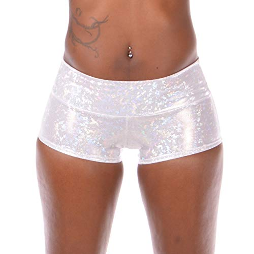 Women's Holographic Sport Booty Shorts: Athletic Fit Festival Booty Shorts with Gusset & Pocket (X-Small, White Disco) ()
