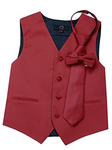 Brand Q Boy's Tuxedo Vest, Zipper Tie & Bow-Tie Set in Scarlet-4 by Brand Q