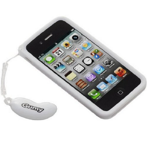 JVC GUMY SOFT SILICONE CASE COVER SKIN FOR IPHONE 4S /4 WITH CLEANING PAD-WHITE -