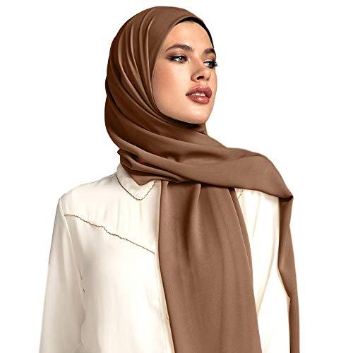 Voile Chic 8 Colors Mocha Brown Premium Chiffon Wrap Head Scarf (Non-Slip)