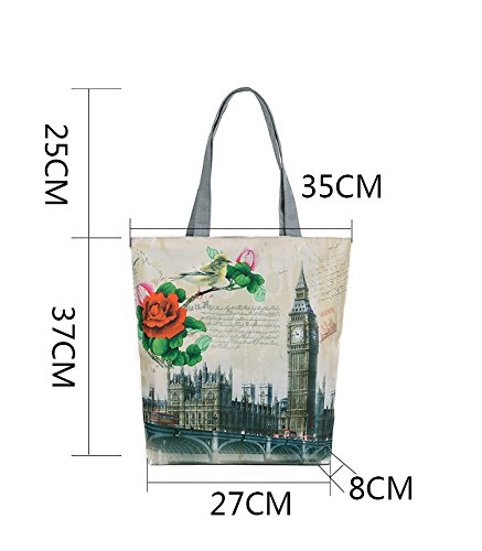 Shopping Cotton Tote British Flag Large Women's Canvas London3 Handbags London Handle Shoulder Bags Bags Top Bag Oqwgc