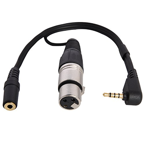 LyxPro XLR Female to TRRS, Connects Professional XLR Microphones to iOS, iPhone, iPad, and iPod Includes Output for Headphones, Small (10 Inches) by LyxPro