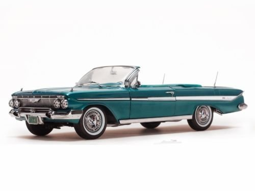NEN 1:18 SUN STAR AMERICAN COLLECTIBLE - TURQUOISE 1961 CHEVROLET IMPALA OPEN CONVERTIBLE Diecast Model Car By SunStar