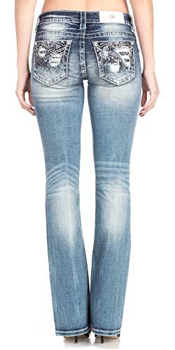 Back Embellished Pocket - Miss Me Women's Distressed and Embellished Back Pocket Boot Cut Jeans (Medium Blue, 27)