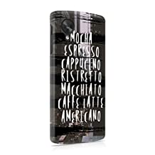 All Kinds Of Coffee Hard Plastic Phone Case For LG Google Nexus 5