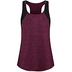 Kekebest Women Summer Fashion Sport Yoga Sleeveless Workout Vest Casual Top Tee Blouses Shirt Tanks Cami Wine Red