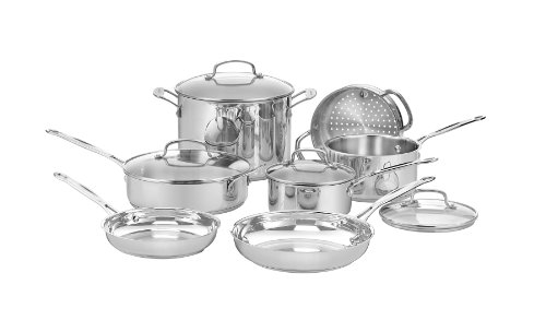 Cuisinart Chef's 11Pc Stainless Cookware Set Pots Pans Steamer Deal (Large Image)