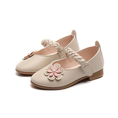 Malloom® Kind Kind Mädchen Leder Weben Floral Sneaker Casual Einzigen Prinzessin Schuhe Geflochtene Blume Perle Einzelne Schuhe Prinzessin Schuhe Beige