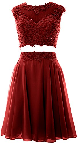 MACloth Women Vintage 2 Piece Prom Homecoming Dress Lace Wedding Party Gown Burgundy