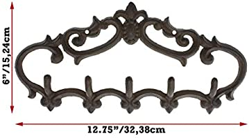 Comfify Cast Iron Wall Hanger – Vintage Design with 5 Hooks - Keys, Towels,  etc - Wall Mounted, Metal, Heavy Duty, Rustic, Vintage, Decorative Gift