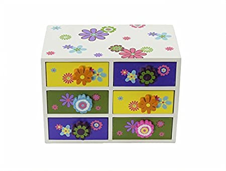 Wooden Jewelry Box for Kids - 6 Drawer Colorful Flower Jewelry Box Case Necklaces, Rings, Bracelets, 8 x 4.5 x 5.5 inches