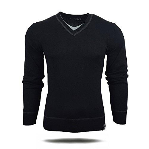 R-Neal RN-5007 Herren Pullover V-Neck Kontrast Pulli Sweatshirt Jacke Hoodie Neu, Größe:XXL, Farbe:Schwarz
