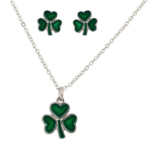 (Lux Accessories Three Leaf Heart Clover Saint St Patricks Day Necklace Matching Earrings)