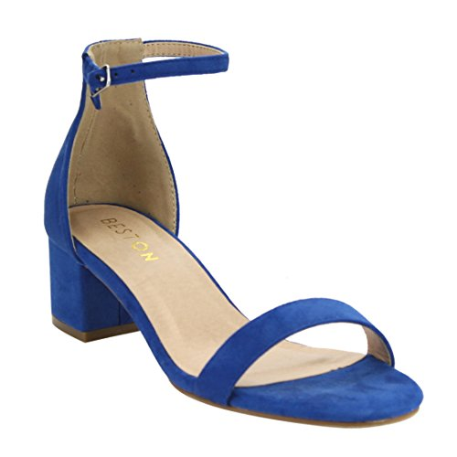 Beston DE13 Women's Single Band Buckle Strap Block Heel Dress Heel Ankle Sandals, Color:ROYAL BLUE, Size:9