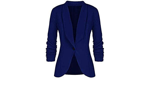 Office Ladies Solid Blazer Long Sleeve Loose Women Blazers ...