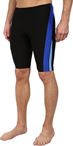 Speedo Men's Endurance+ Launch Splice Jammer Swimsuit, Black/Blue, - Men Speedo Swimwear