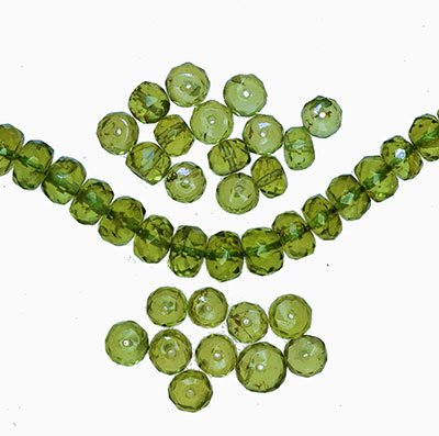 Peridot Faceted Rondelle Beads - 8