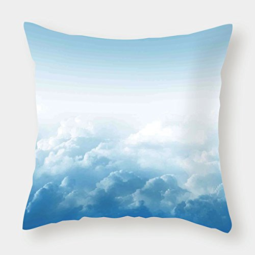 - iPrint Cotton Linen Throw Pillow Cushion Cover,Clouds,Fluffy Clouds High above Ground Mass of Condensed Water Vapor Floating Dream Image,Blue White,Decorative Square Accent Pillow Case