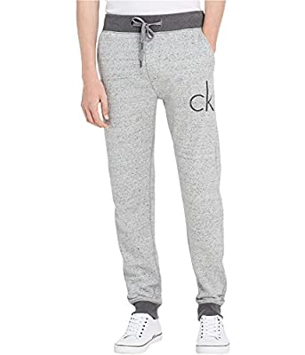 Calvin Klein Men's CK Logo Grey Marble Heather Drawstring Lounge Sweatpants