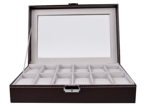 TMS Large Watch Box 12 Mens Brown Leather Display Glass Top