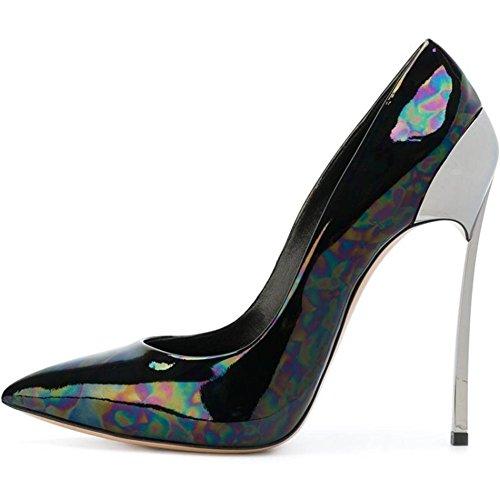 Mujer Estilete Corte Zapatos Metal Alto Tacón Fiesta Puntiagudo Dedo del pie Zapatillas tamaño Black