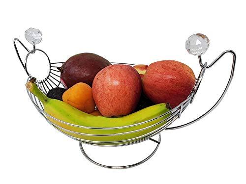 Swing Fruit Basket Bowl w/Acrylic Ball Design   Silver Chrome Metal hammock Decorative design