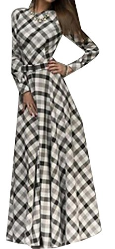 Party Maxi Women's Belted White Plaid Long Swing Dress Black Elegant Cruiize Sleeve 0nHB8xR