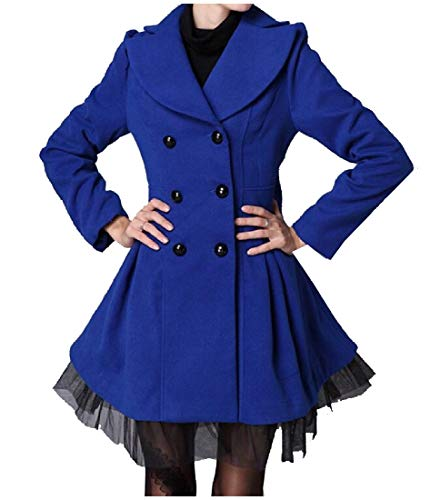 Coat Woolen Breasted Wool XINHEO Down Mesh Double Blue Turn Collar Jacket Women Trench Xwqv0