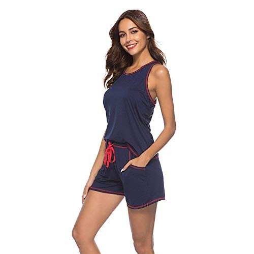 Cordón Cuello Pijamas Camisolas Camison Slim Violett Bastante Elastische Fit Shorts Mujer Sleeveless Taille Con O Bolsillos YwqYOf