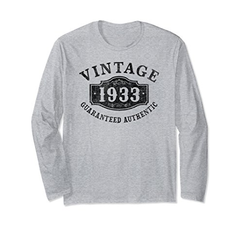 Unisex 85 years old 1933 Authentic 85th B-day Birthday Gift T-Shirt Large Heather Grey (Authentic Vintage T-shirts)