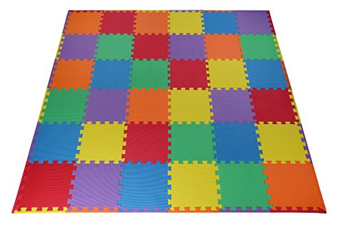 Classroom Mat - Toydaloo EVA Foam Play Mat Blank 36 pieces + 24 borders Non-toxic multicolored Colorful