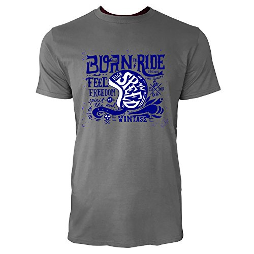SINUS ART ® Vintage Biker Illustration – Born To Ride Herren T-Shirts in Grau Charocoal Fun Shirt mit tollen Aufdruck