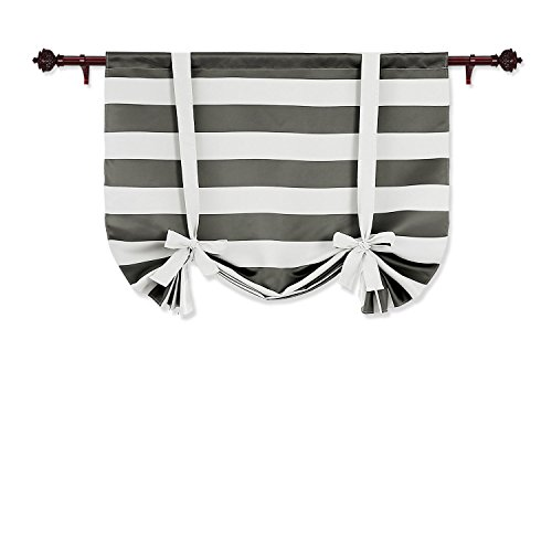 Deconovo Gray Striped Blackout Window Curtains Thermal Insulated Grey and White Striped Curtains Tie Up Curtains for Bedroom 46W X 63L Gray 1 Panel