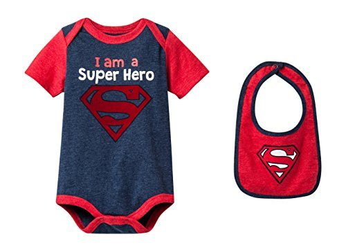 Kids With Character Superman Infant Boys' Bodysuit With Bib (0-3 Months) -