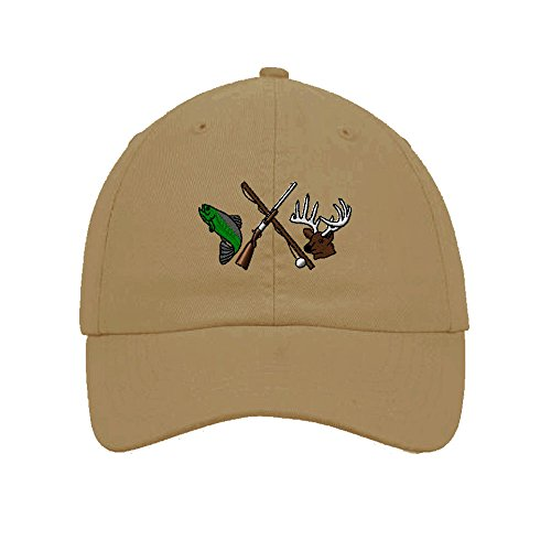 Fishing And Hunting Logo Embroidered Soft Unstructured Hat Baseball Cap Khaki