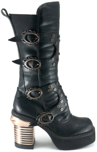 Hades Schoenen - Vrouwen Zwarte Harajuku Steampunk Boots (6.5)