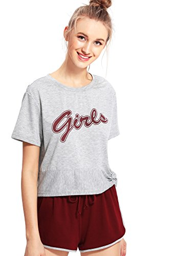 - DIDK Women's Heather Knit Tee & Dolphin Shorts Pajama Set Grey & Wine S