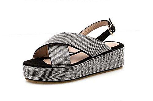 Mujeres Pump 5.5cm Wedge Heel Thick Bottom Sandals Roma Shoes Sweet Open Toe Slingbacks Zapatos casuales Hollow Pure Color Rhinestone Holiday Beach Shoes Zapatos de vestir Eu Tamaño 34-40 Negro