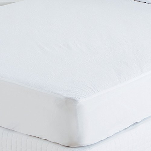 ess Protector Full Size- (+21 Inch) Pocket Depth White Solid 100% Anti-Allergy, Anti-Bacterial Terry Cotton Fitted style - Waterproof Mattress Pads ()